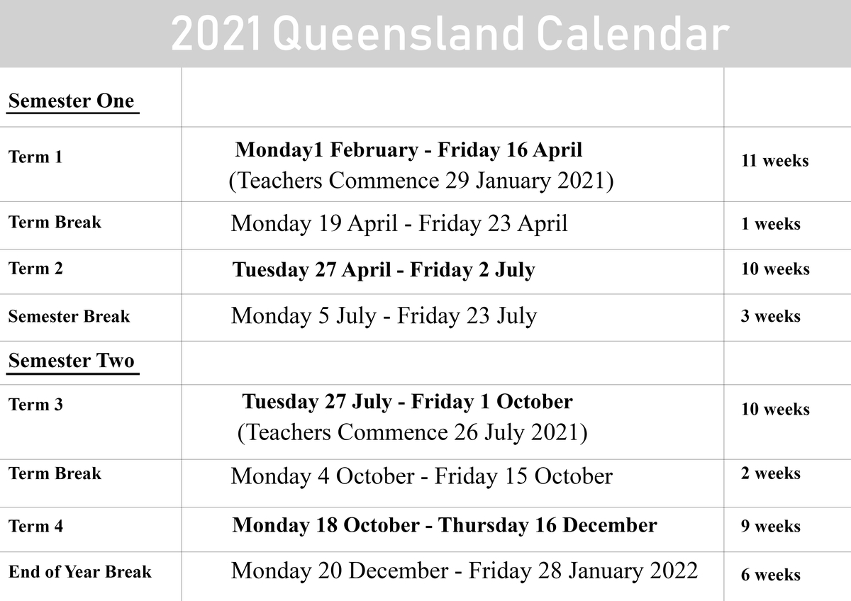 2021 QLD School Holidays Calendar