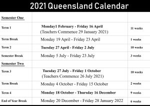 QLD School Holidays Calendar 2021