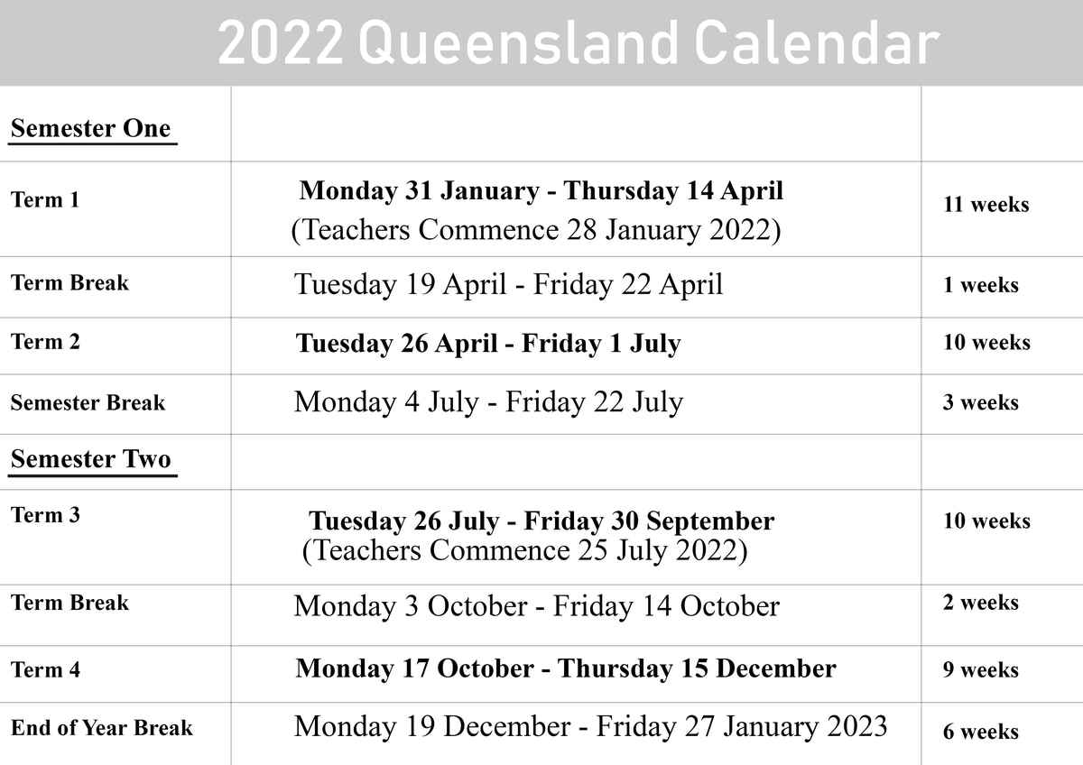 2022 QLD School Holidays Calendar