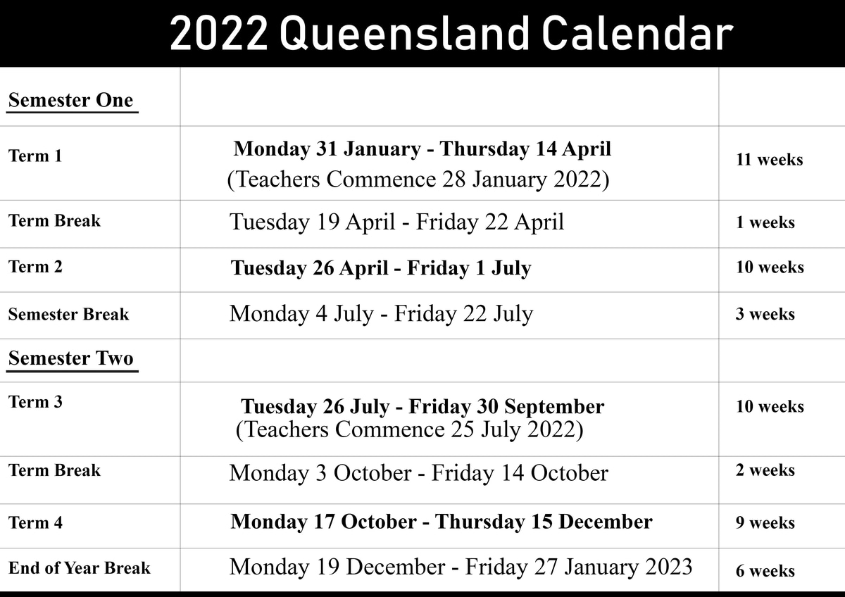 QLD School Holidays Calendar 2022
